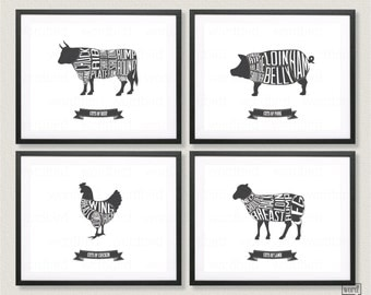 Butcher Chart Set, Beef, Pork, Chicken And Lamb Butcher Charts In Black & White, Kitchen Wall Decor, Black And White Kitchen Prints