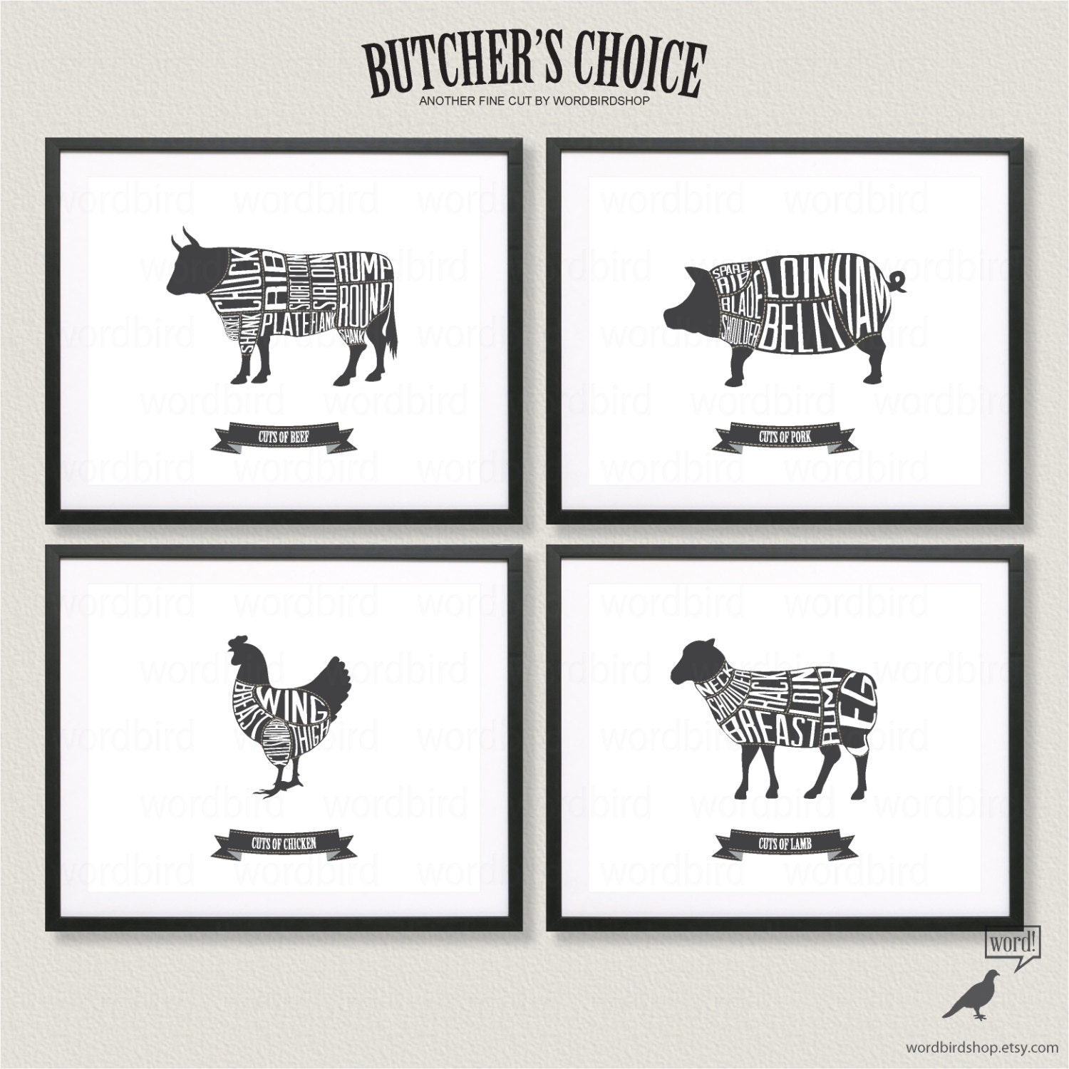 Butcher chart set beef pork chicken and lamb butcher charts for Black and white kitchen wall decor
