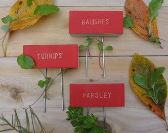 Vegetable Herb Garden Markers With Pins, Custom Pick, Plant Signs, Cedar Wood Markers, Garden Stakes, Untreated