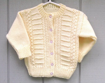 Girls cardigan - 2 to 3 years - Girls yellow sweater - Kids knit clothing - Girls clothing - Kids sweaters