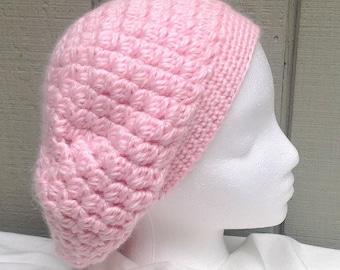Alpaca blend slouchy beanie - Crochet pink alpaca hat - Pink slouchy hat - Womens hats - Teens accessories