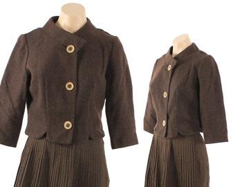 Vintage 60s Brown Tweed Jacket Short Blazer Suit Womens Fashion 1960s Medium M Brown Wool Jacket Cropped