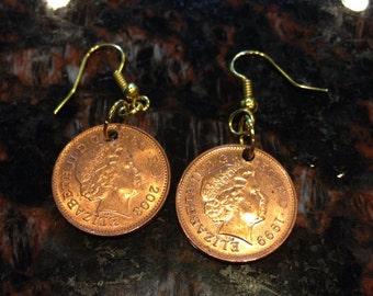 England 1 pence coin earrings