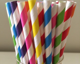 100 Bright Rainbow Paper Straws Wedding/Party/Events