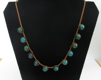 Statement Crocheted necklace with Criscola stones, Christmas gift