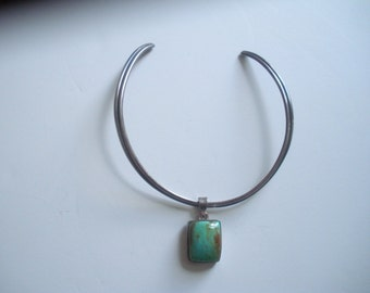Turquoise and Sterling Pendent on Sterling Collar ~Marked 925 Sterling