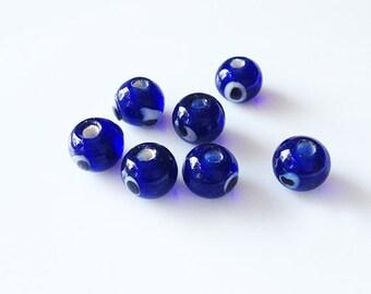 8 Navy Blue Glass Evil Eye Beads - Protection Beads, Glass Beads, Evil Eye Jewelry, Evil Eye Supplies