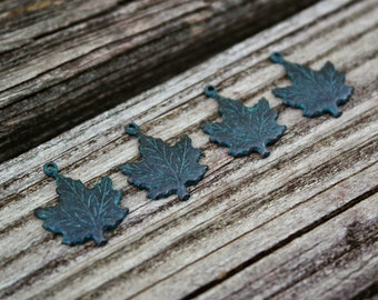 Brass Maple Leaf Pendants, Patina Maple Leaf Charms, 4pcs