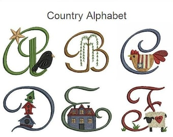 Country Alphabet Machine Embroidery Designs Instant Download 3x3 hoop 26 designs SHE5011