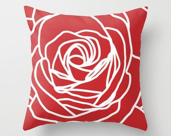 Red Rose Pillow Cover - Modern Flower - Home Decor - Love - Valentines Day -  includes insert