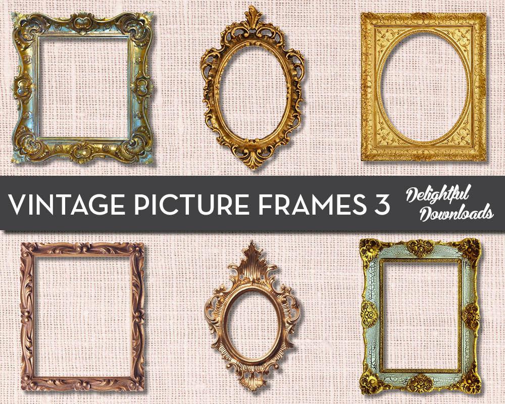 antique vintage picture frame clip art vol 3 for digital. Black Bedroom Furniture Sets. Home Design Ideas
