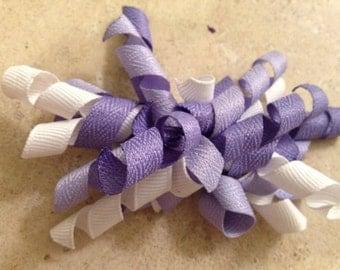 Lavendar White and Purple Korker Bow
