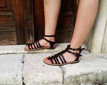 Dark Brown Leather Handmade Greek Gladiator Sandals