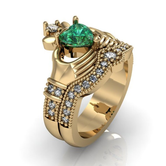 claddagh ring 10k solid yellow gold emerald by