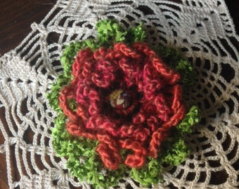 Hand Crocheted, Red, Flower Brooch/Pin
