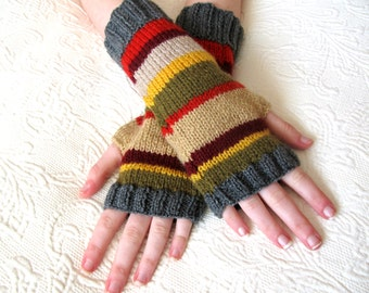 4th Doctor Who Inspired Fingerless Gloves size small