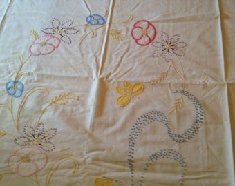 Hand Stitched Vintage Needlework and Applique Tablecloth 84 X 73