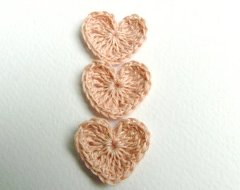 Crochet hearts applique, 15 pink hearts, embellishments,spring gift, small wedding favor, scrapbooking,wedding decorations, cards, gift idea