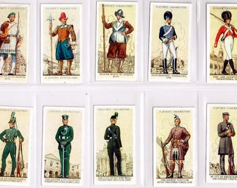 British Cigarette Card Set (50 Cards) - Uniforms Of The Territorial Army. Issued In 1939 by Players Cigarettes. British Volunteers Uniforms
