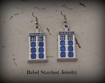 Doctor Who TARDIS blue police box earrings