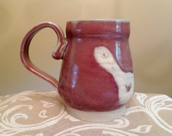 Handmade Ceramic Pink Handprint Tankard Mug