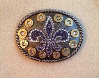 Fleur de lis bullet belt buckle