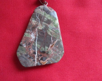 Chunky Moss Agate Pendant Large Agate Pendant Silver Tone Accents