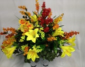Cemetery Saddle of Bright Yellow Satin Lilies, Yellow Orchids with a Splash of Red, with Lilacs of Red and Yellow