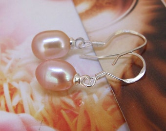 Luster Rice Pink Pearl Natural Freshwater Pearl Earring Dangle 925 Silver Hook Earring Wedding gift Jewelry