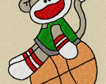 28 Boy Sports Sock Monkey Machine Embroidery Design Files 4x4 with Finger Puppets
