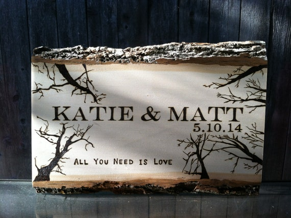 Wood Wedding Gift Ideas: Wood Burned Wedding/Anniversary Gift By OCRusticCustoms On