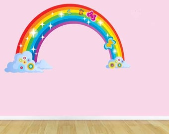 Fabric wall Decal Rainbow with Clouds Kids room Boys Nursery Full Color Repositionable. Reusable
