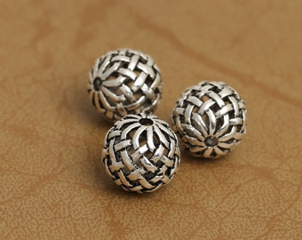Round 925 Sterling Silver Beads Thai Silver Weave Spacer Bead DIY Beads 10mm Beads Wholesale High Quality Y386