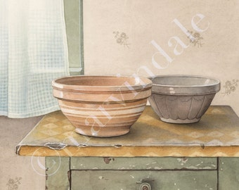 Mixing Bowls (framed art print from watercolour of antique yellow ware bowls by cori lee marvin)