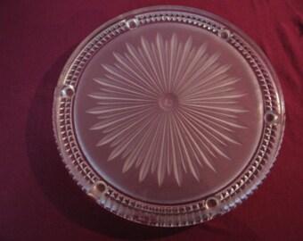 Round Glass Platter - Starbust design  - French Vintage circa 1950s