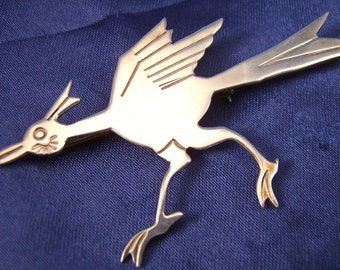 He's Really Fast ~ Large Sterling Road Runner Brooch