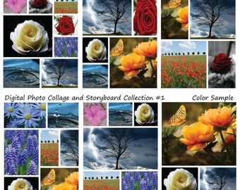 Instant Download- 8.5x11 Storyboard Photographers Template 6 Different Photoshop Digital Collage Templates Photo Blog Board Collection #1