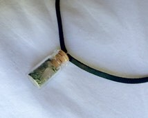 Rose Quartz, Moss Filled Glass Wish Bottle Deerskin Choker