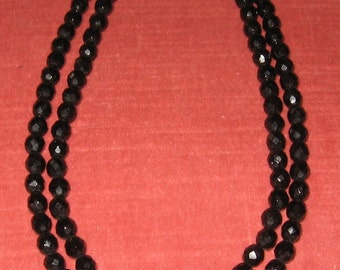 Jet Black Glass Bead Choker