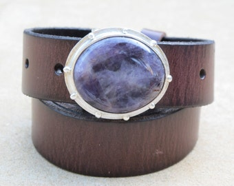 Amethyst Sterling Silver Belt Buckle