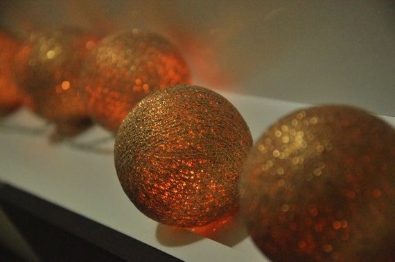 Items similar to 20 Gold Cotton Ball String Lights for Party Wedding and Decorations on Etsy