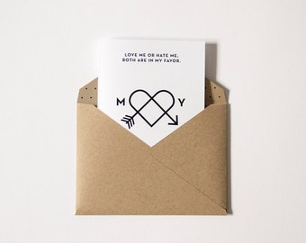 Me & You → Love Affection → Love card with kraft envelope, customizable with your initials