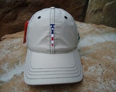 Men's Golf Hat Khaki with Embroidered USA Flag Tee Design - Diamond Lite Fabric | Great Golf Gift Item