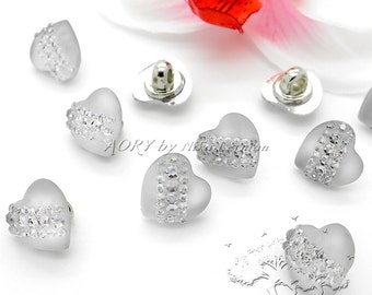 10 pcs Beautiful Light Buttons in the Shape of Heart with Sparkling Rhinestone, Size 11,5mm