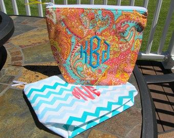 Monogrammed Clutch / Makeup Bag / Pouch (9 inch) - Monograms, Greek Letters, Names, etc