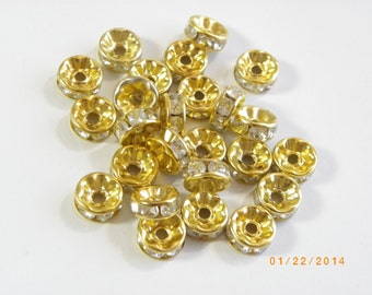 30 Pcs , 8mm Gold Clear Crystal Rhinestone Spacer Beads , 8mm gold disc crystal spacer, rhinestone spacer, gold jewelry supplies