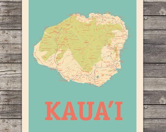 Island of Kauai, Hawaii Map 18 x 24 Print Wall Art