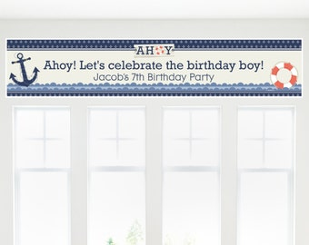 Ahoy Nautical Party Banner - Custom Party Decorations