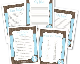 Boy Baby Shower Game Pack - 5 Instant Download & Print Games