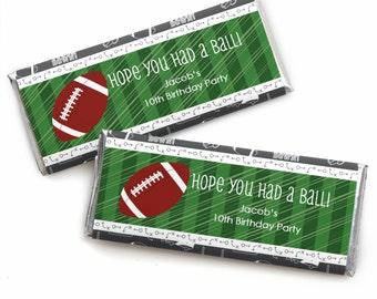 24 Football Custom Candy Bar Wrappers - Personalized Baby Shower and Birthday Party Favors
